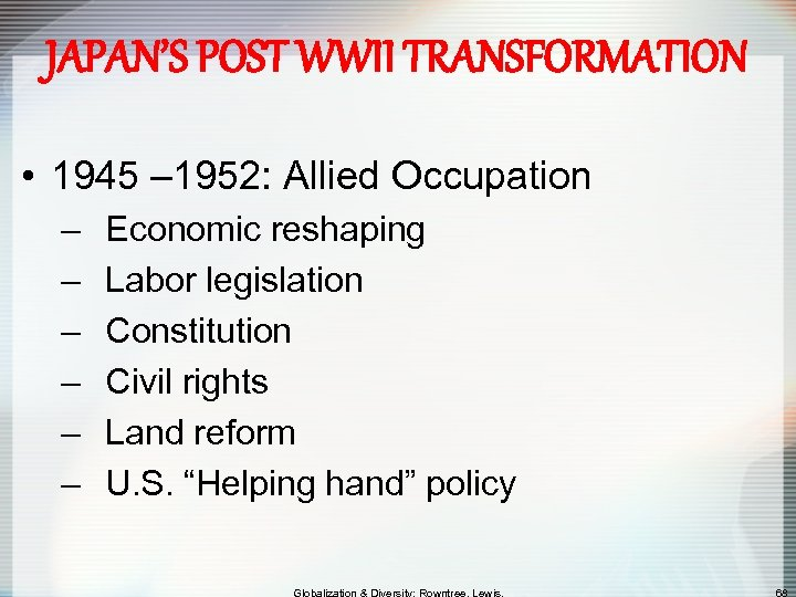 JAPAN'S POST WWII TRANSFORMATION • 1945 – 1952: Allied Occupation – – – Economic