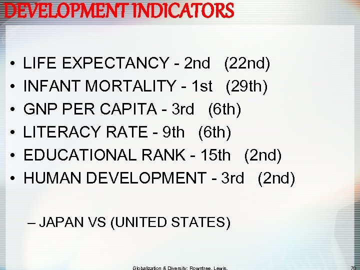 DEVELOPMENT INDICATORS • • • LIFE EXPECTANCY - 2 nd (22 nd) INFANT MORTALITY