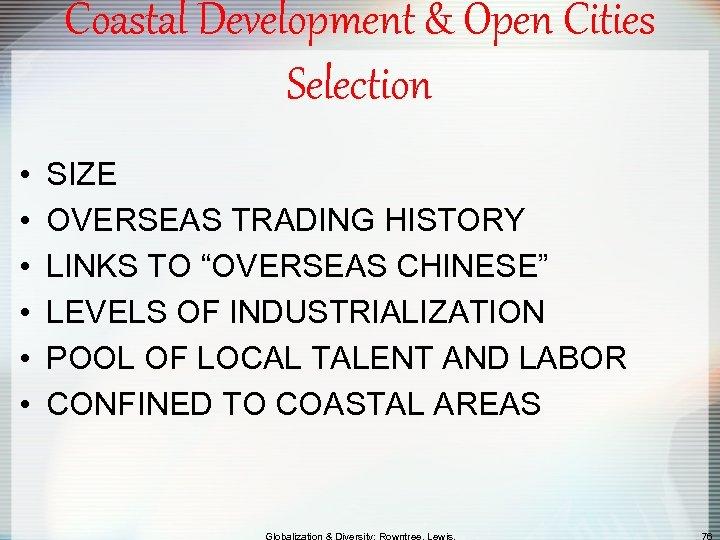 Coastal Development & Open Cities Selection • • • SIZE OVERSEAS TRADING HISTORY LINKS