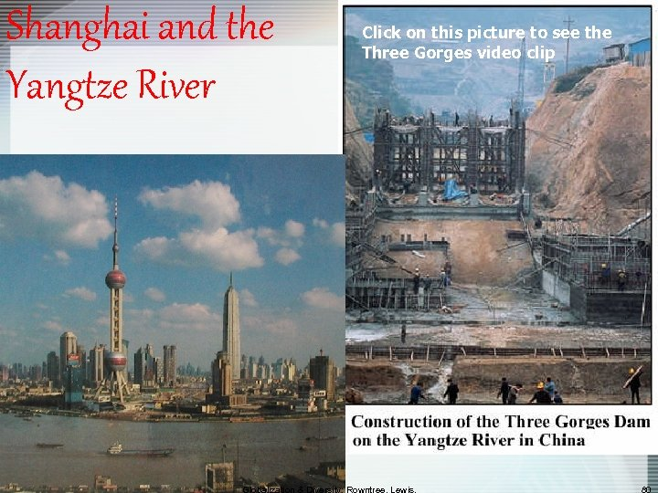 Shanghai and the Yangtze River Click on this picture to see the Three Gorges