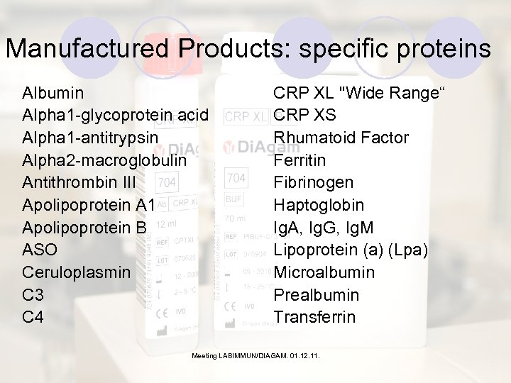 Manufactured Products: specific proteins Albumin Alpha 1 -glycoprotein acid Alpha 1 -antitrypsin Alpha 2