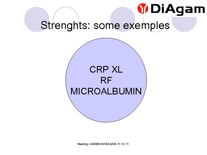 Strenghts: some exemples CRP XL RF MICROALBUMIN Meeting LABIMMUN/DIAGAM. 01. 12. 11.