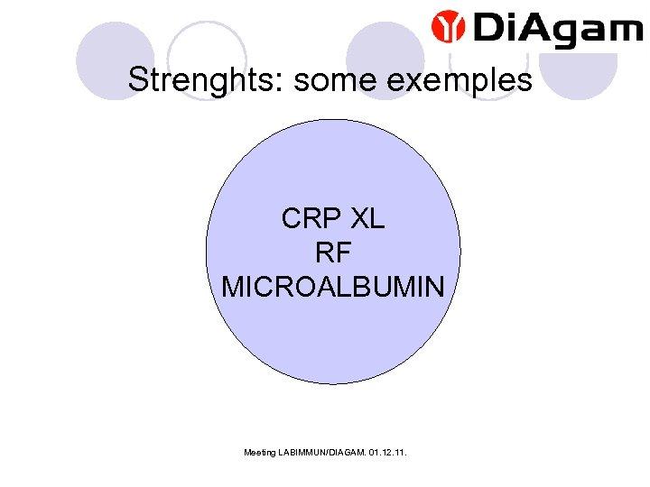 Strenghts: some exemples CRP XL RF MICROALBUMIN Meeting LABIMMUN/DIAGAM. 01. 12. 11.