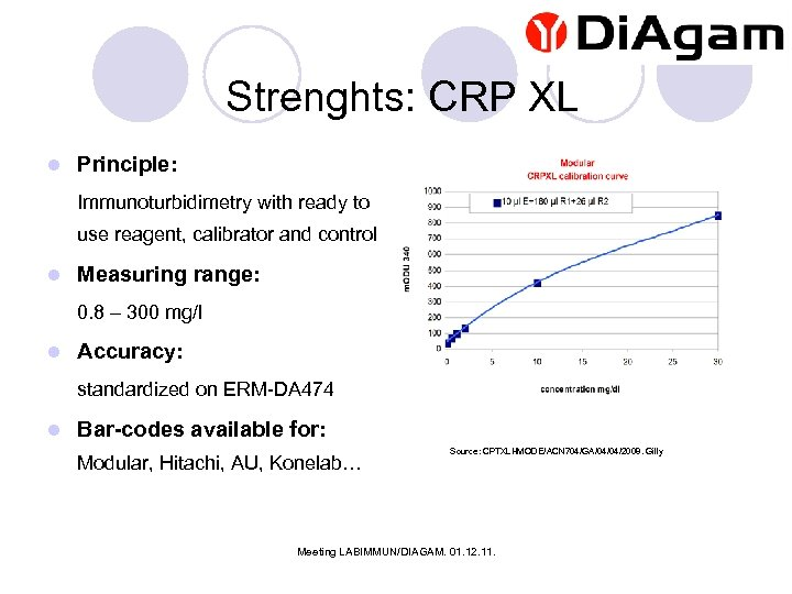 Strenghts: CRP XL l Principle: Immunoturbidimetry with ready to use reagent, calibrator and control