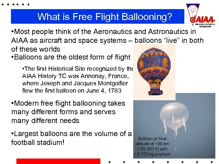 What is Free Flight Ballooning? • Most people think of the Aeronautics and Astronautics