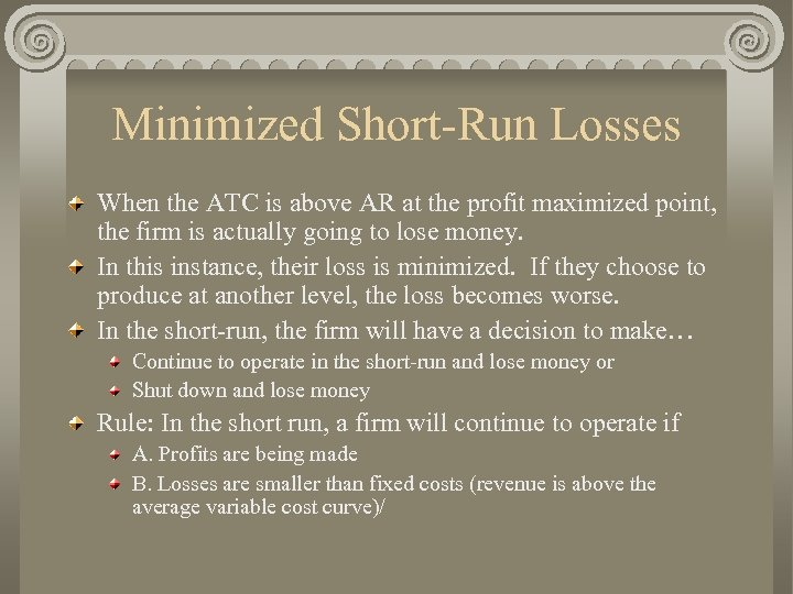 Minimized Short-Run Losses When the ATC is above AR at the profit maximized point,
