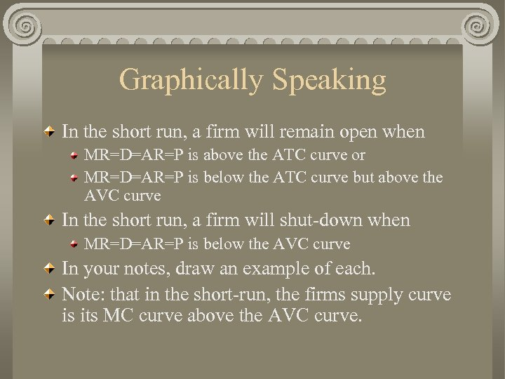Graphically Speaking In the short run, a firm will remain open when MR=D=AR=P is