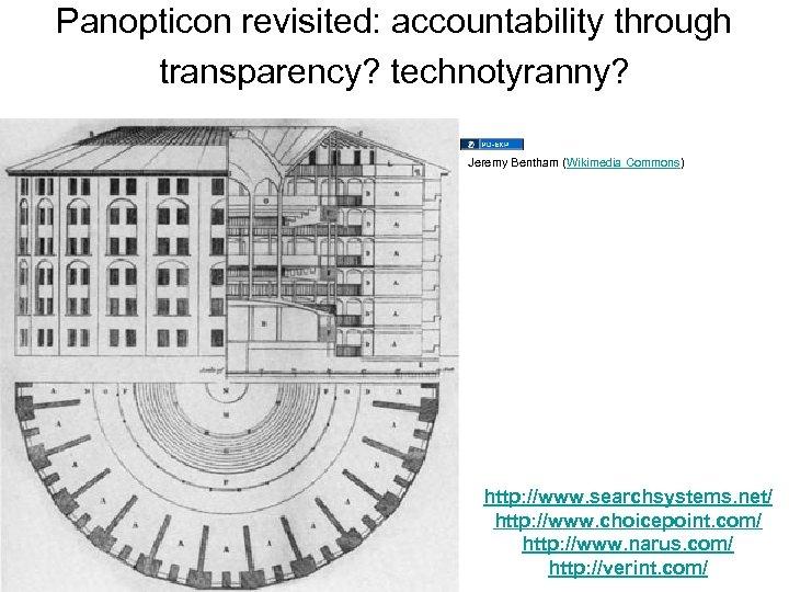 Panopticon revisited: accountability through transparency? technotyranny? Jeremy Bentham (Wikimedia Commons) http: //www. searchsystems. net/