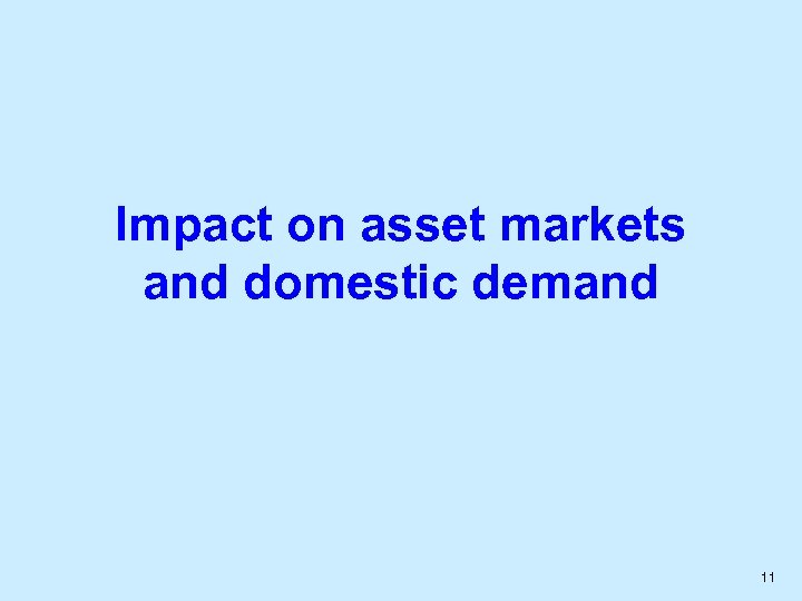 Impact on asset markets and domestic demand 11