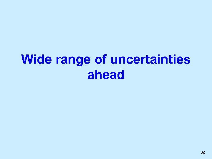 Wide range of uncertainties ahead 30