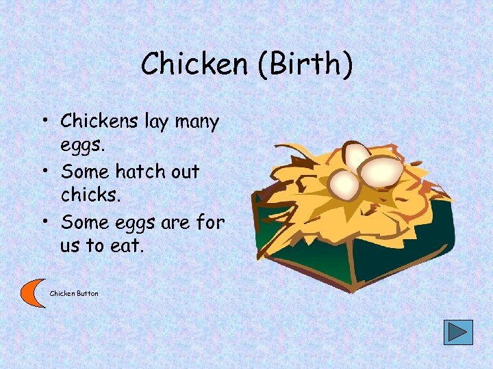 Chicken (Birth) • Chickens lay many eggs. • Some hatch out chicks. • Some