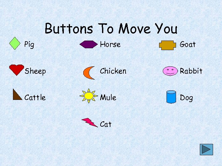 Buttons To Move You Pig Horse Goat Sheep Chicken Rabbit Cattle Mule Dog Cat