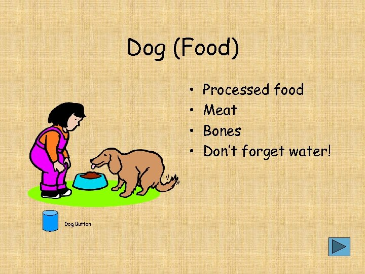 Dog (Food) • • Dog Button Processed food Meat Bones Don't forget water!
