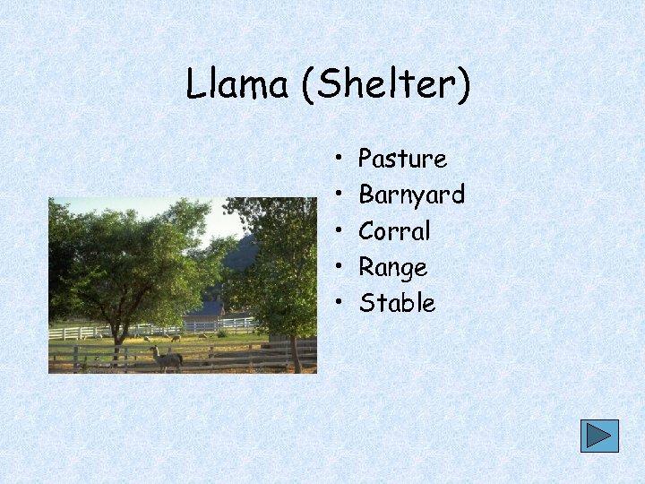 Llama (Shelter) • • • Pasture Barnyard Corral Range Stable