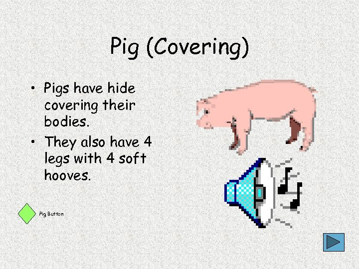 Pig (Covering) • Pigs have hide covering their bodies. • They also have 4