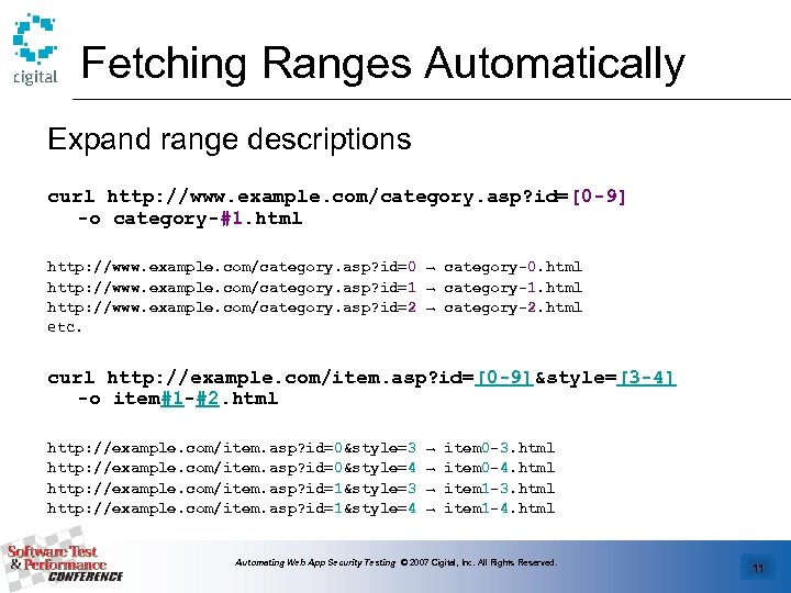 Fetching Ranges Automatically Expand range descriptions curl http: //www. example. com/category. asp? id=[0 -9]