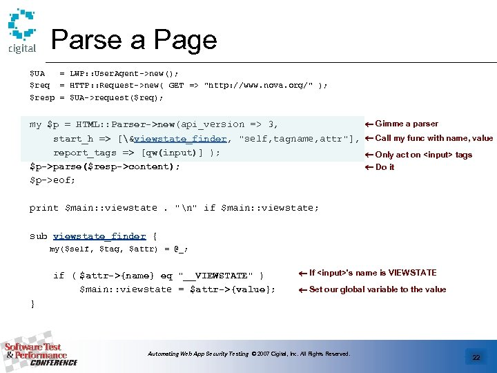 Parse a Page $UA = LWP: : User. Agent->new(); $req = HTTP: : Request->new(