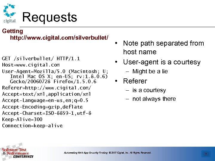 Requests Getting http: //www. cigital. com/silverbullet/ GET /silverbullet/ HTTP/1. 1 Host=www. cigital. com User-Agent=Mozilla/5.
