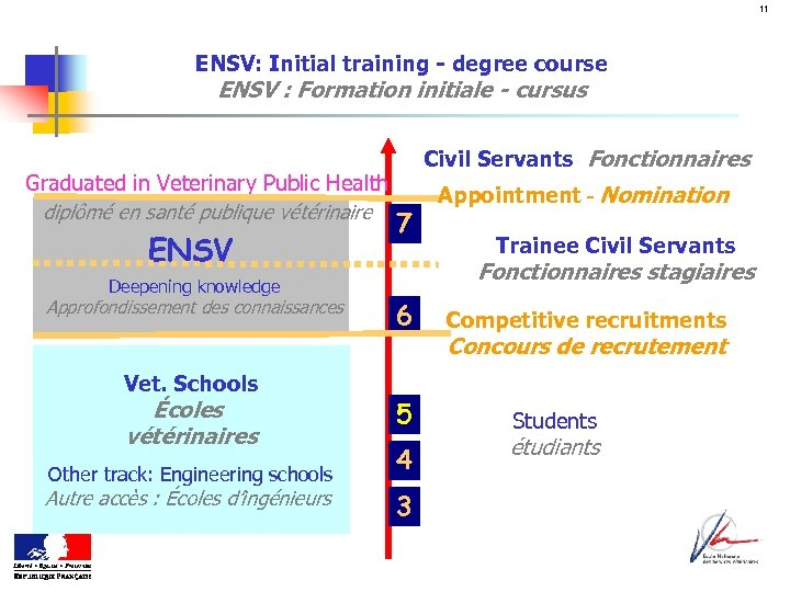 11 ENSV: Initial training - degree course ENSV : Formation initiale - cursus Graduated