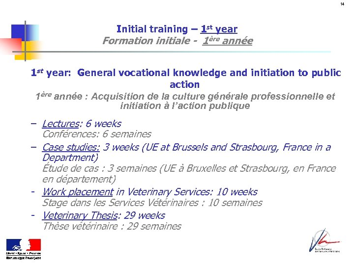 14 Initial training – 1 st year Formation initiale - 1ère année 1 st