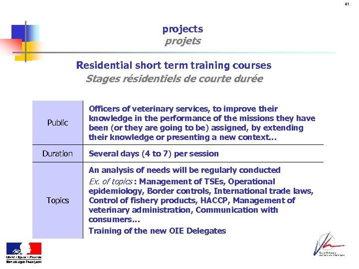 41 projects projets Residential short term training courses Stages résidentiels de courte durée Public