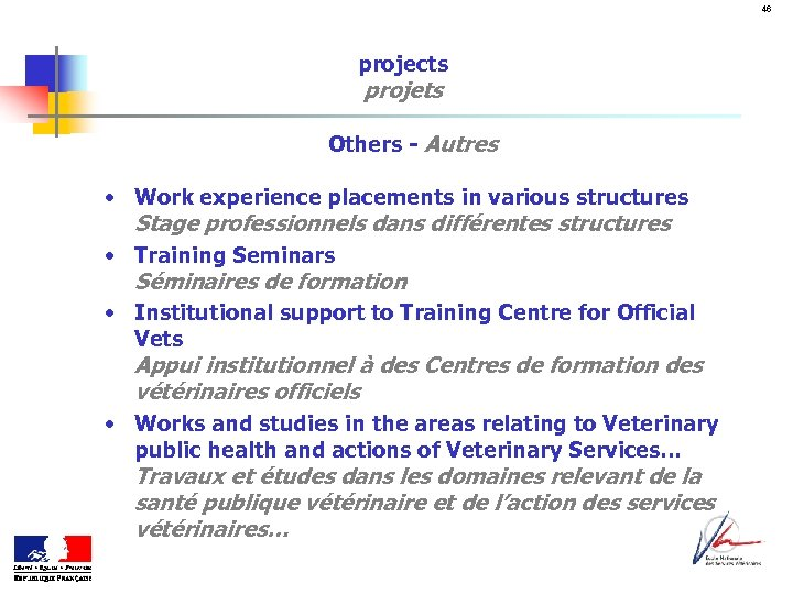 46 projects projets Others - Autres • Work experience placements in various structures Stage