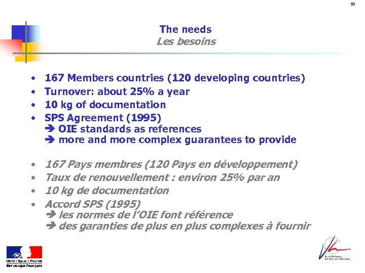 50 The needs Les besoins • • 167 Members countries (120 developing countries) Turnover: