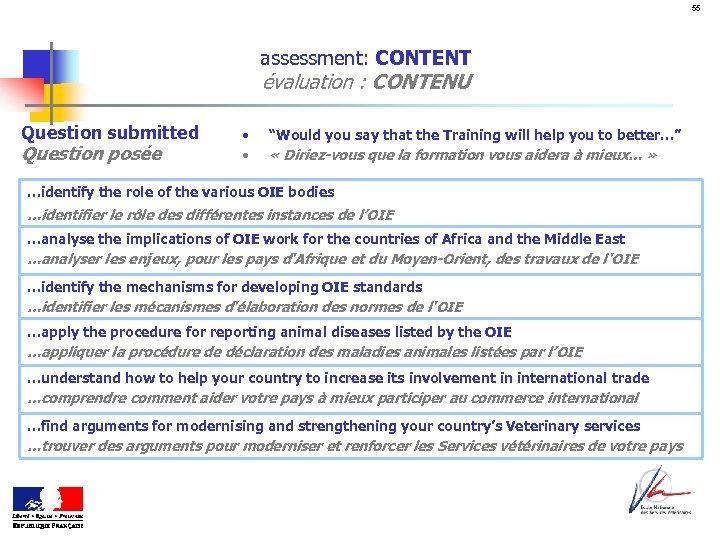 "55 assessment: CONTENT évaluation : CONTENU Question submitted Question posée • • ""Would you"