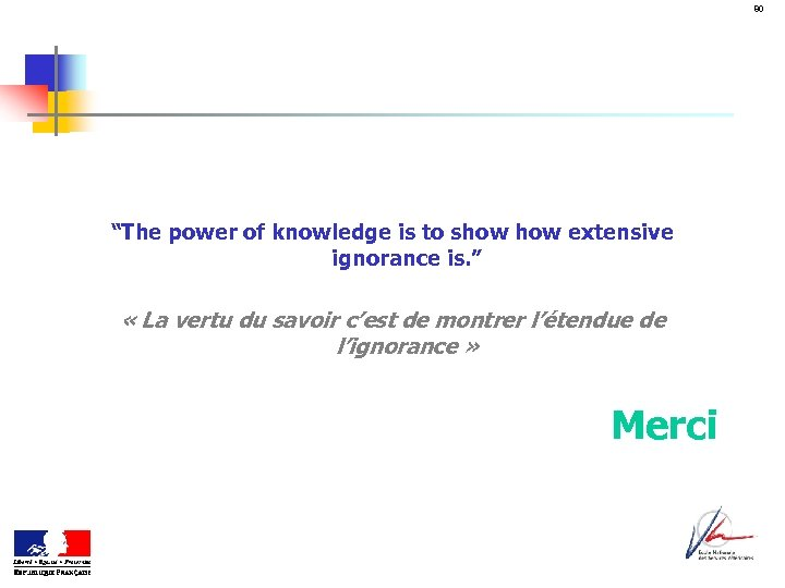 """80 """"The power of knowledge is to show extensive ignorance is. """" « La"""