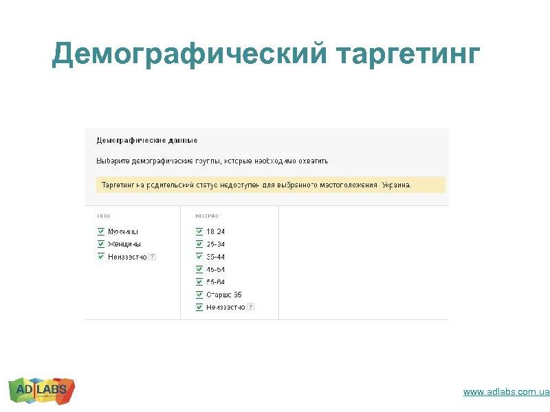 Демографический таргетинг www. adlabs. com. ua