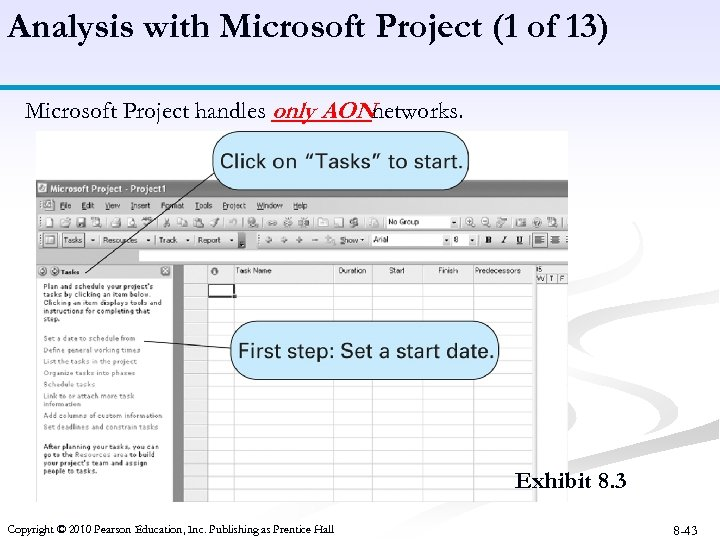 Analysis with Microsoft Project (1 of 13) Microsoft Project handles only AONnetworks. Exhibit 8.