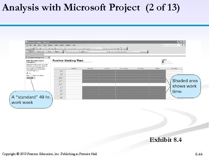 Analysis with Microsoft Project (2 of 13) Exhibit 8. 4 Copyright © 2010 Pearson