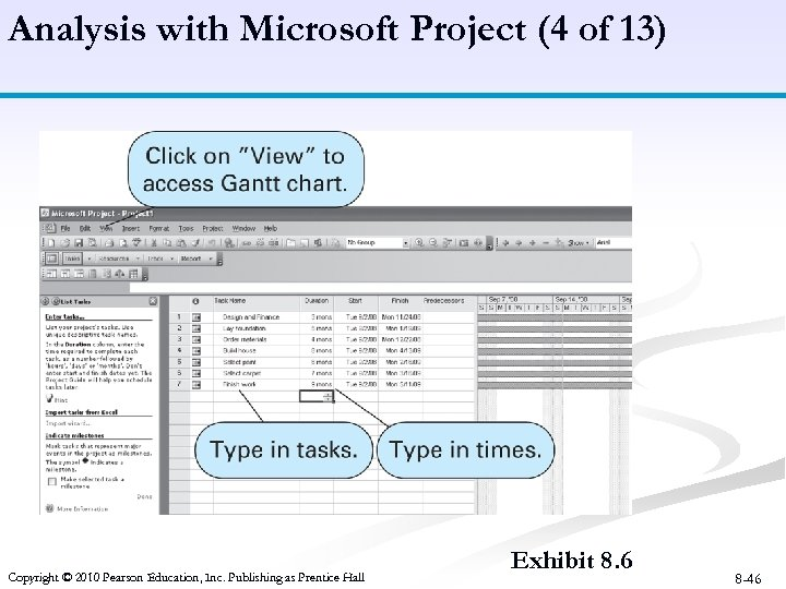 Analysis with Microsoft Project (4 of 13) Copyright © 2010 Pearson Education, Inc. Publishing