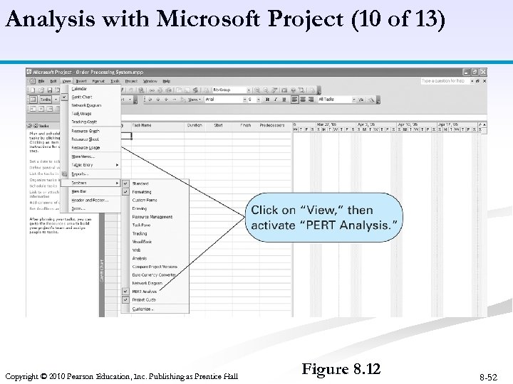 Analysis with Microsoft Project (10 of 13) Copyright © 2010 Pearson Education, Inc. Publishing