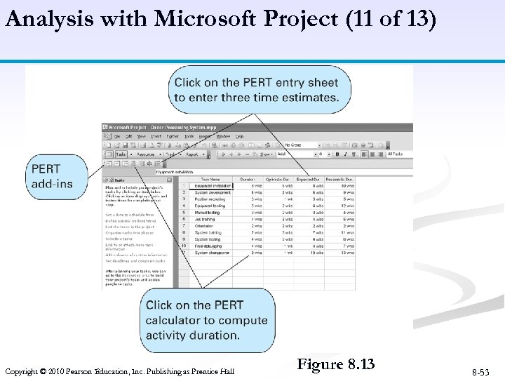 Analysis with Microsoft Project (11 of 13) Copyright © 2010 Pearson Education, Inc. Publishing