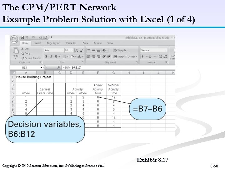 The CPM/PERT Network Example Problem Solution with Excel (1 of 4) B 6: B