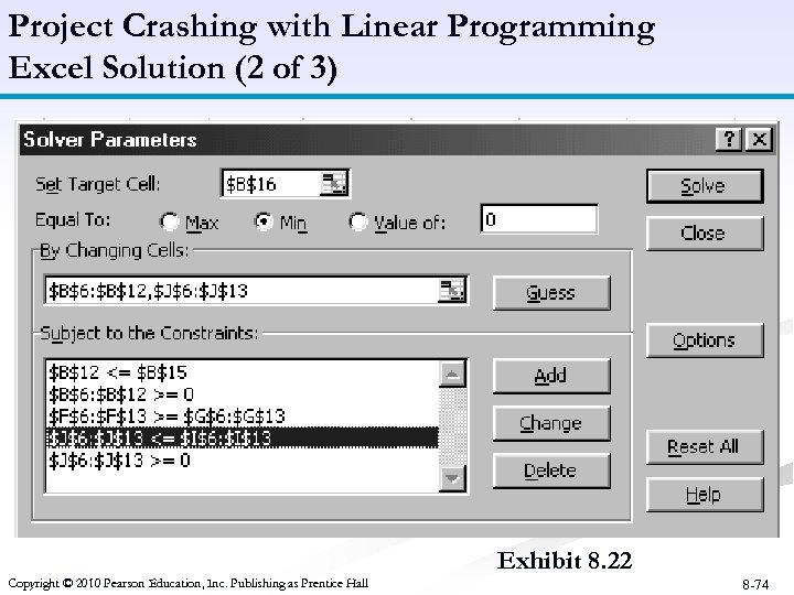 Project Crashing with Linear Programming Excel Solution (2 of 3) Exhibit 8. 22 Copyright