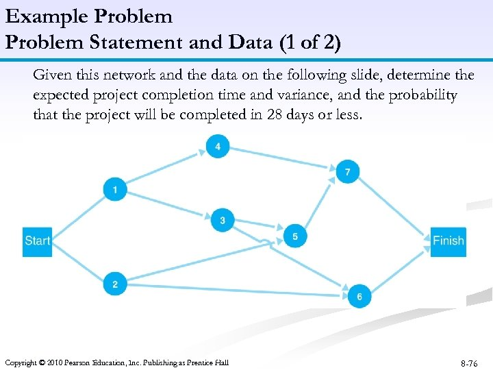 Example Problem Statement and Data (1 of 2) Given this network and the data
