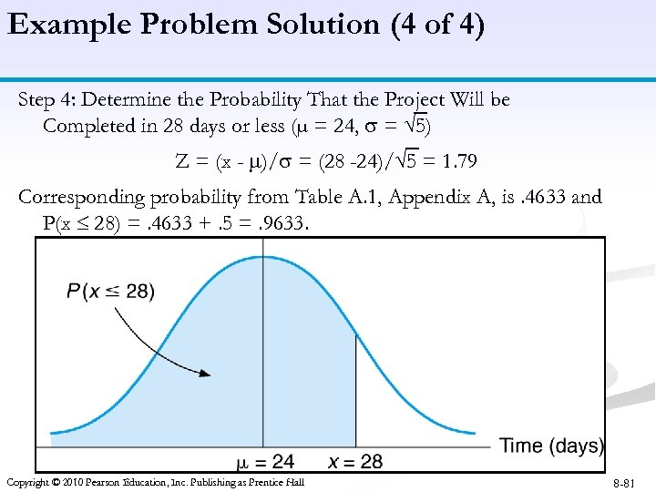 Example Problem Solution (4 of 4) Step 4: Determine the Probability That the Project