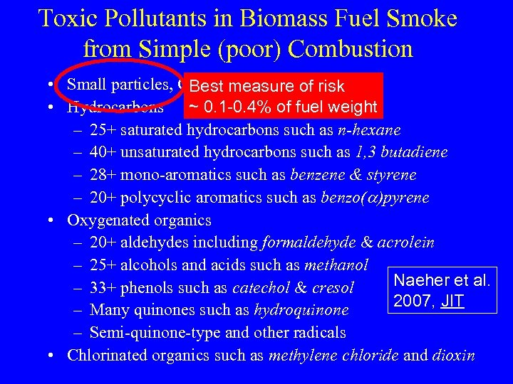Toxic Pollutants in Biomass Fuel Smoke from Simple (poor) Combustion • Small particles, CO,
