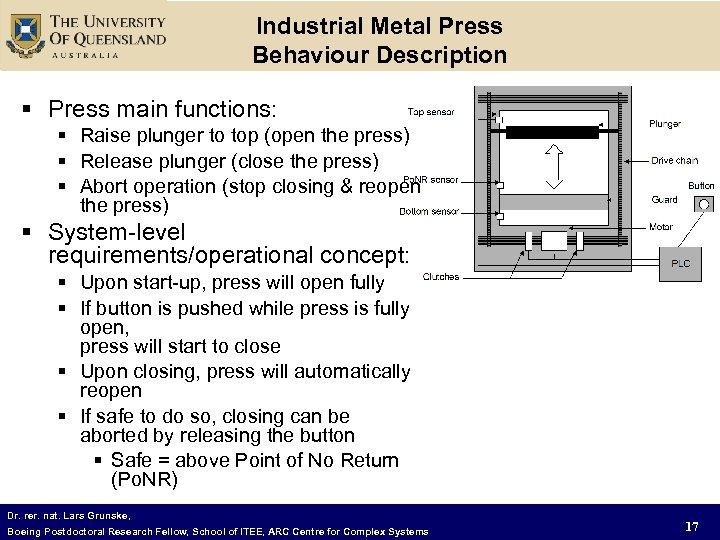 Industrial Metal Press Behaviour Description § Press main functions: § Raise plunger to top