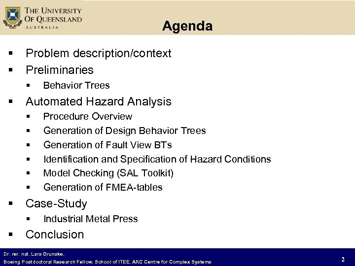 Agenda § § Problem description/context Preliminaries § § Automated Hazard Analysis § § §