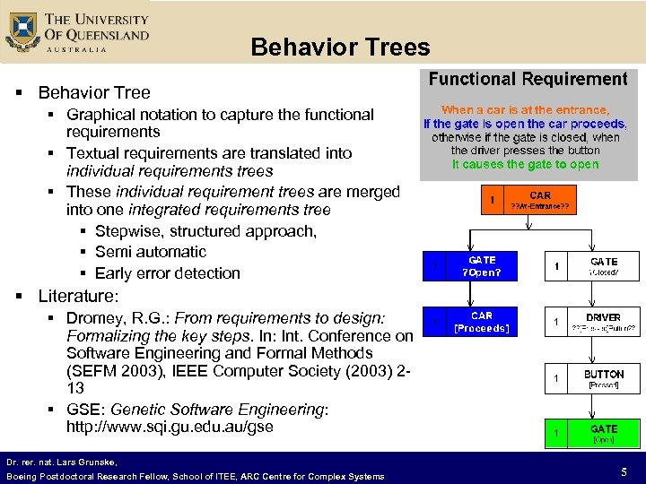 Behavior Trees § Behavior Tree § Graphical notation to capture the functional requirements §