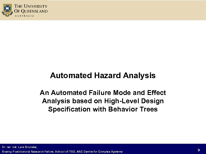 Automated Hazard Analysis An Automated Failure Mode and Effect Analysis based on High-Level Design