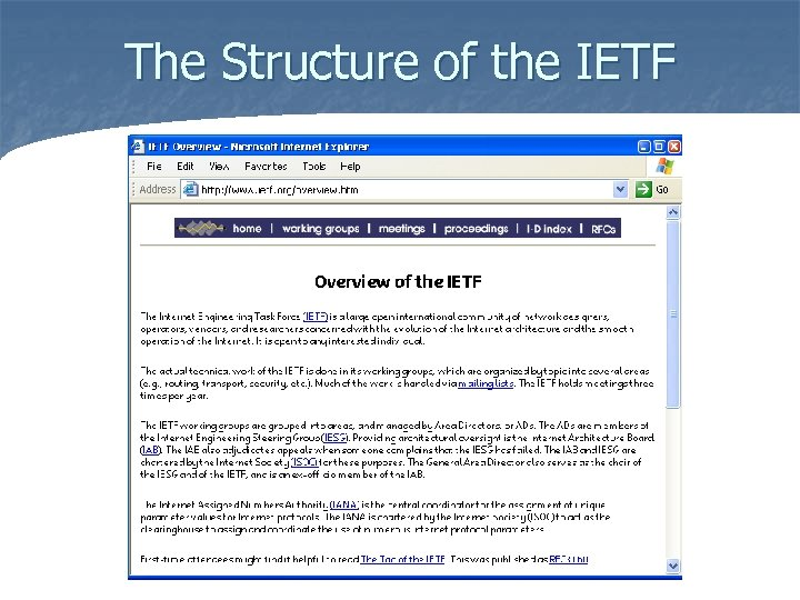 The Structure of the IETF