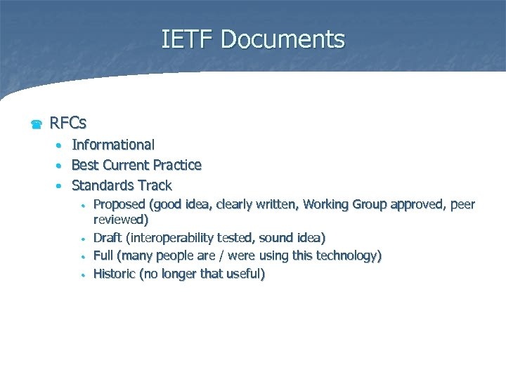 IETF Documents ( RFCs Informational • Best Current Practice • Standards Track • •