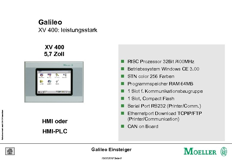 Galileo XV 400: leistungsstark XV 400 5, 7 Zoll n RISC Prozessor 32 Bit