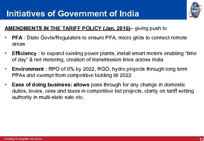 Initiatives of Government of India AMENDMENTS IN THE TARIFF POLICY (Jan, 2016)– giving push