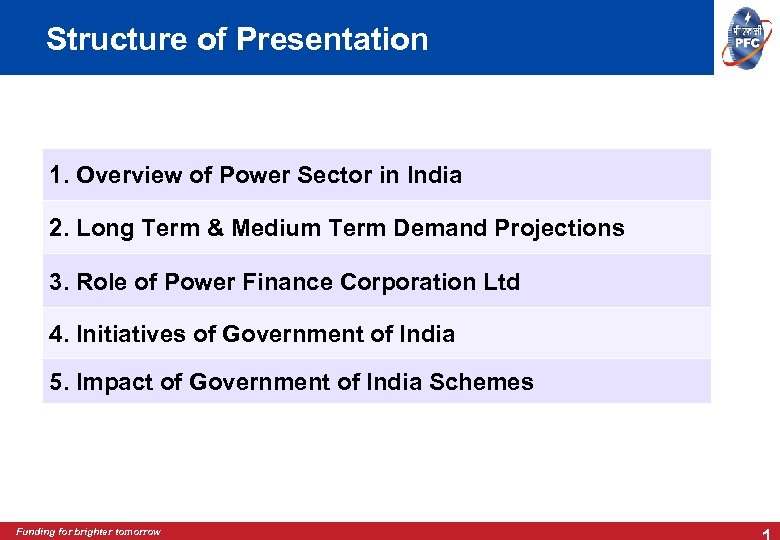 Structure of Presentation 1. Overview of Power Sector in India 2. Long Term &
