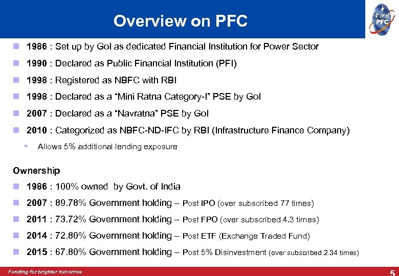 Overview on PFC 1986 : Set up by Go. I as dedicated Financial Institution